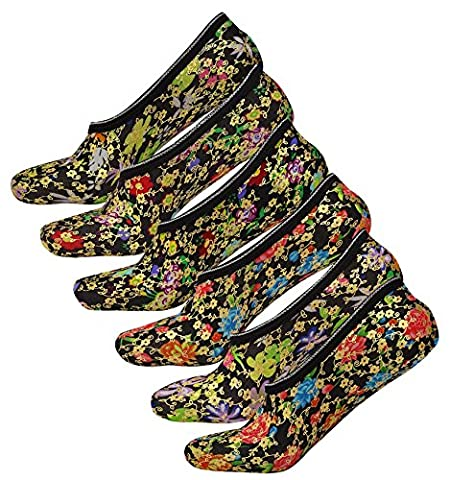 Q-Tex Blumenmuster Poly Lycra Liner Länge Damen Socken Größe 9-12 - Wählen Sie Pack