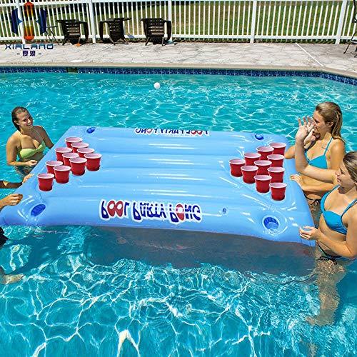 SSBH Beer Pong Pool Float - Aufblasbare schwimmende Beer Pong-Tisch- und Lounge-Posen aus hochwertigem Raft-Material mit Ping Pong-Bällen, ideal für Poolpartys! (Größe : 145 * 60cm) (Bier Pong Ball Kostüm)