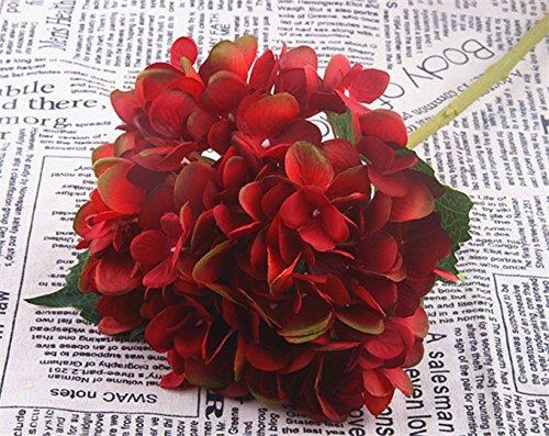 Jun7L Kunstblumen Blumen Künstliche Hortensie Blumen Dekoration Künstliche Hydrangeablume Hochzeit Dekor Blumenstrauß (2Pcs) Rot 47X18CM
