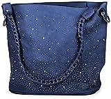 styleBREAKER Handtaschen Set mit Strassapplikation im Sternenhimmel Design, 2 Taschen 02012013, Farbe:Royalblau
