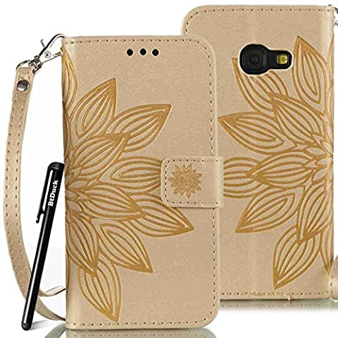 BtDuck Leather Case for Samsung Galaxy A3 2017 inch Gold Buddhist Flower Seeds Leaf Totem PU Stand Embossed Phone Protector PU Leather Flip Folio Cover Anti-slip Skin Outdoor Protection Simple Strict Shockproof Heavy Duty Robust Bumper Case Shell with Stander Oyster Card ( Travel Card Bus Pass)Holder Slots Pocket Kickstand Function Magnetic Closure + 1 * Black Stylus Pen