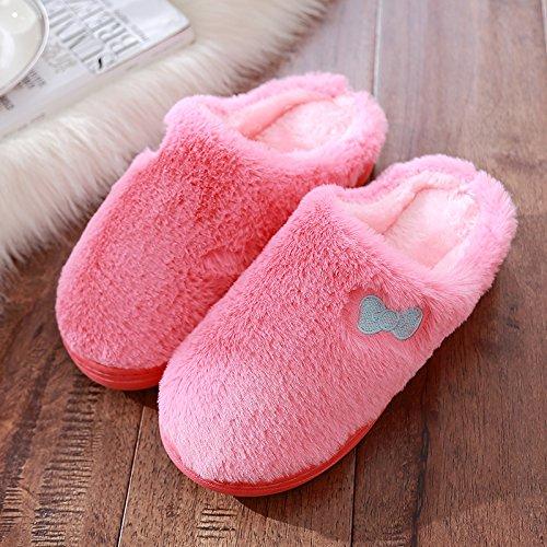 DogHaccd pantofole,Uomini Donne pantofole di peluche home pantofole di cotone spessore invernale caldo inverno carino pantofole Il rosso2