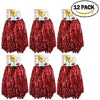 1docena Cheer Leading pompones, crivers 12pc pompones de animadora para pelota bailar la moda vestido Noche Fiesta Sports, rojo