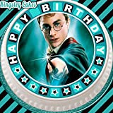 Vorgeschnittener, essbarer Zuckerguss-Kuchenaufsetzer, 19,1cm rund, Harry Potter mit Happy-Birthday-Rand