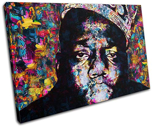 Bold Bloc Design - Notorious BIG Biggie Iconic Celebrities 135x90cm Single Boite de tirage d'art Toile encadree Photo Wall Hanging - encadre Pret a accrocher - Canvas Print RC-8669(00B)-SG32-LO-F