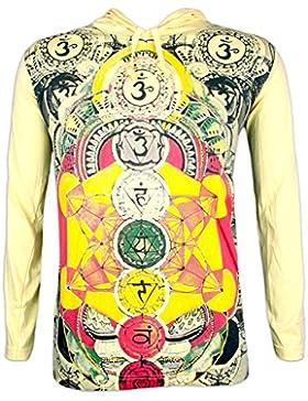 MIRROR Clothing Felpa con Cappuccio da Uomo- 7 Chakras Taglia M L XL Budda Arte Yoga Indù India Maniche Lunghe