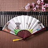 Cucciolo di ventaglio di qualità seduto in una grande pentola di fiori con cornice di bambù Ciondolo con nappa e borsa di stoffa Antico ventaglio cinese Ventaglio personalizzato Ventaglio giapponese