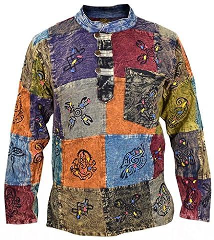 Little Kathmandu Men's Patchwork Hippie Grandad Printed Symbols Casual Shirt Stonewashed Large