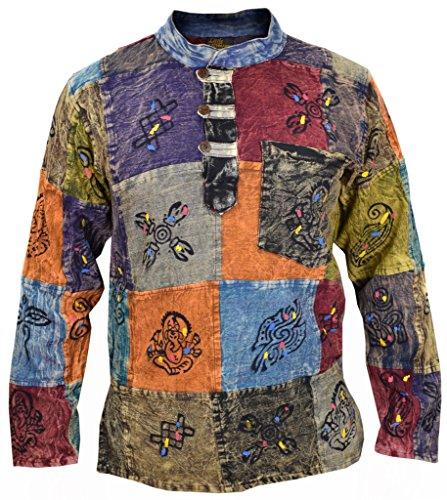 Little Kathmandu Camisa para hombre, tipo patchwork, estilo hippie, co