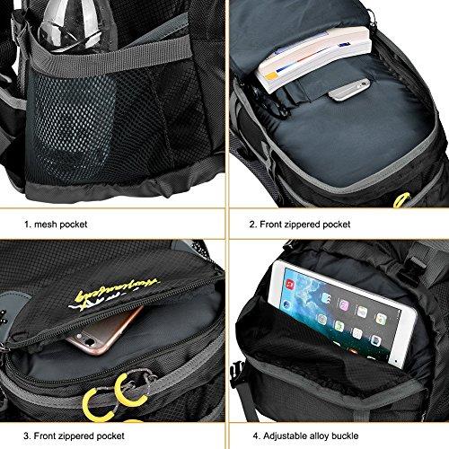 Macbag Wanderrucksack mit Regenhülle 40L 55L Wasserdichter Rucksack Großer Kapazitätsrucksack, ideal für Camping, Trekking und Bergsteigen Schwarz