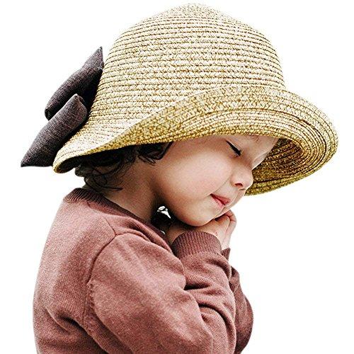 YASSON Mädchen Mütze Sommer Sonnenhut Strohhut Große Schleife Süß Prinzessin Hut Vintage Elegant Kleine Lady Urlaub Mode Mütze