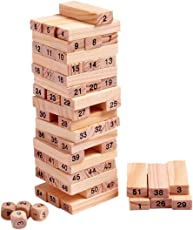 Create+ 51 Pcs Challenging 4pcs Dice Wooden, Maths Jenga for Adults and Kids. Make Maths Fun for Kids
