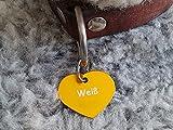 Gravuren.store 2 Stück Hunde-Katzenmarke Herz, Adressanhänger aus Aluminium, (31,5mm X 26,5mm M, Gold)