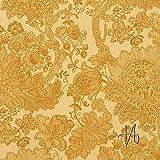 MIRABLAU DESIGN Stoffverkauf Baumwolle Canvas feines florales Muster in ocker auf gelb (26-002M), 0,5m