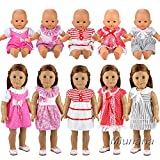 Miunana 5 PCS Fashion Clothes Dresses For 14-18 Inch Baby Dolls, Newborn Dolls, American Girl Dolls And Other 14-18 Inch Dolls