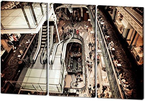 Shopping Mall, schönes und hochwertiges Leinwandbild zum Aufhängen in XXL - 3 Teiler mit 120cm x 80cm, echter Holzrahmen, effektiver Pigmentdruck, modernes Design für Ihr Büro oder Zimmer
