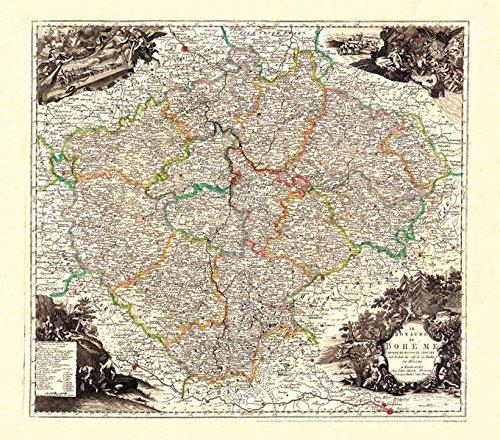 Preisvergleich Produktbild Historische Karte: Königreich BÖHMEN (Bohemia) 1760 (Plano)
