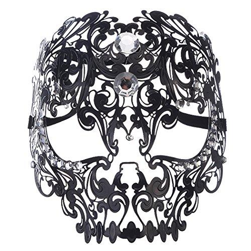 Preisvergleich Produktbild Coofit Unisex Venezianischen Teufel Schädel Laser Cut Maskerade Masken mit Strass (schwarz)