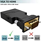 Brand Conquer VGA to HDMI Adapter/Converter with Audio, ,Active Male VGA in Female HDMI 1080p Video Audio for Computer...