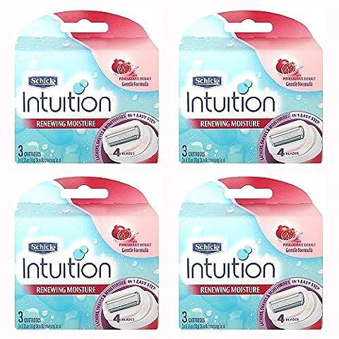 Schick Intuition Renewing Moisture Womens Razor Refill Cartridges, 12 count