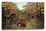 Printed Paintings Leinwand (80x60cm): Henri Rousseau - Affen in Den Orangen-Bäumen