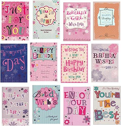 Moderne Geburtstags-Grußkarten, für Damen, #2, 12 Stück