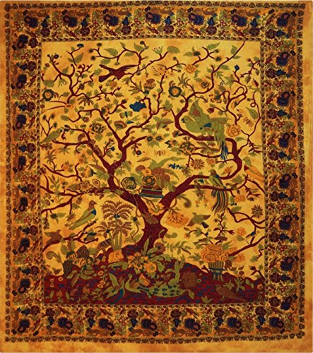 Lebensbaum-Motiv, zum Aufhängen, indische Boho Bohemian Tagesdecke, Mandala, Wohnheim Baumwolle, Dekor Strand