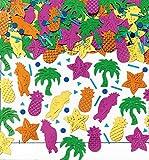 250-tlg. Metallic-Konfetti * Hawaii - Island Party * als glitzerndes Deko zum Geburtstag oder Mottoparty   Tischdeko Ananas Palmen Papagei Seesterne Karibik - 2