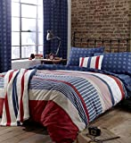 Catherine Lansfield Stars and Stripes Fitted Sheet Spannbetttuch, amerikanisches Flaggendesign, für Doppelbett, multi, Einzelbett