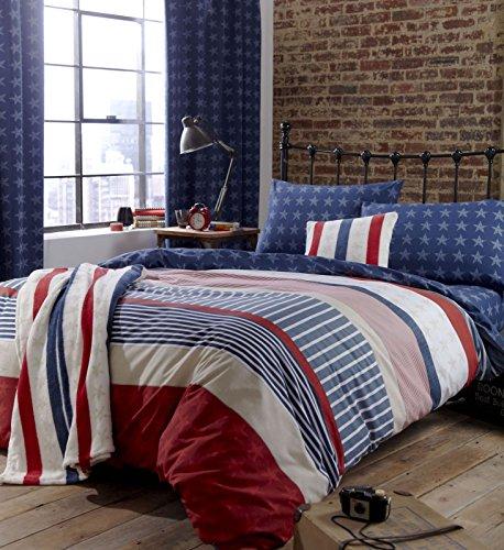 Catherine Lansfield Stars and Stripes Fitted Sheet Spannbetttuch, amerikanisches Flaggendesign, für Doppelbett, multi, Einzelbett (Amerikanische Kinder Bettwäsche)