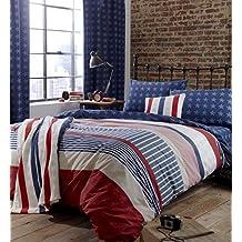 Catherine Lansfield Stars and Stripes - Manta (120 x 150 cm), diseño de rayas, color azul, rojo y blanco