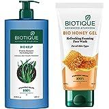 Biotique Bio Honey Gel Refreshing Foaming Face Wash, 150ml & Biotique Bio Kelp Protein Shampoo for Falling Hair Intensive Hai