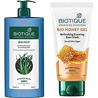 Biotique Bio Honey Gel Refreshing Foaming Face Wash, 150ml & Biotique Bio Kelp Protein Shampoo for Falling Hair…