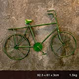 QBZS-YJ Vintage Schmiedeeisen Fahrrad Wandbehänge Kreative Regal Home-Dekoriert Balkon Wandbehänge (Farbe : Grün)