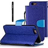"iPhone 6 Case, iPhone 6s Leather Case, Slynmax Magnetic Flip Folio Silk Pattern Design Book Style Cover Case Premium PU Wallet Cover with Credit Card Holders Stand Fuction Cash Pocket Magnetic Closure Stylus Pen Smoothly Cash Pocket 360 All Screen Protector Smart Shell Stand Cover Perfect Fit for Apple iPhone 6/6s 4.7"" - Dark Blue"