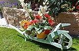 Schöner Große Sackkarren, Gartendeko Karre zum Bepflanzen, Blumentöpfe, Pflanzkübel, Pflanzkasten, Blumenkasten, Pflanzhilfe, Pflanzcontainer, Pflanztröge, Pflanzschale, Schubkarren 120 cm mit Holz - Deko HSOF-120-TÜRKIS in türkis Antik Look blaugrau für Holzhaus Pflanzgefäß, Pflanztöpfe Pflanzkübel