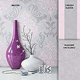 Newroom - Papier peint baroque en molleton rose et gris de style fermier, optique naturelle, raffinée, moderne et belle | guide d'achat de papier peint inclus, intissé, Imprimé 1, Muster 1