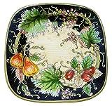 PIATTO con decorazione FRUTTA VARIA e FOGLIE su fondo nero, quadrato cm 41 di lato, delle Ceramiche Artistiche Saltarelli di Montelupo Fiorentino.