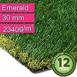 Kunstrasen Rasenteppich Emerald für Garten - Florhöhe 30 mm - Gewicht ca. 2340 g/m² - UV-Garantie 12 Jahre (DIN 53387) - 2,00 m x 0,50 m | Rollrasen | Kunststoffrasen