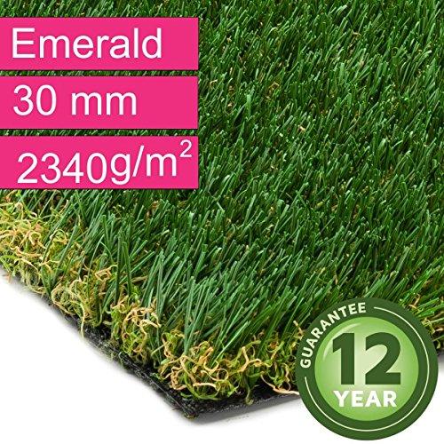 Kunstrasen Rasenteppich Emerald für Garten - Florhöhe 30 mm - Gewicht ca. 2340 g/m² - UV-Garantie...