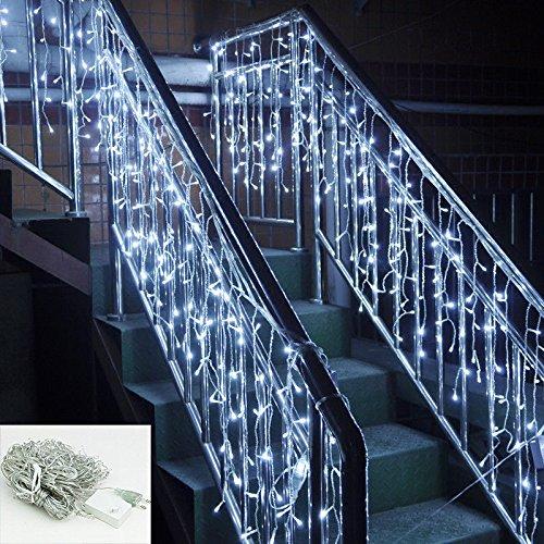 SSITG 20m LED Eisregen Lichterkette 600 leds Weihnachtsdeko Aussen Lichtervorhang