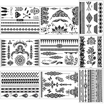 Outee 15 Sheets Black Temporary Tattoos Fake Jewelry Tattoos Henna Temporary Tattoos Temporary Flash Tattoos For Adults & Kids 3