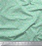 Soimoi Weiß Samt Stoff Grün Mandala Stoff drucken Meter