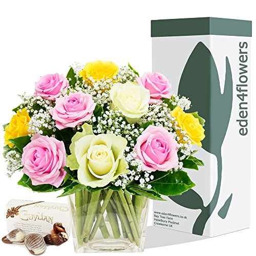 eden4flowers-postal-35-gl3-sorbet-roses-bouquet-and-chocolates-pink-yellow-white