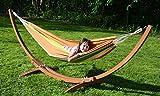 Hängemattengestell inkl. 2 Hängematten Gestell Holz Gartenliege Sonnenliege NEU
