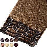 S-noilite Extensiones de clip de pelo natural cabello humano #06 Marrón claro - 100% Remy hair –...