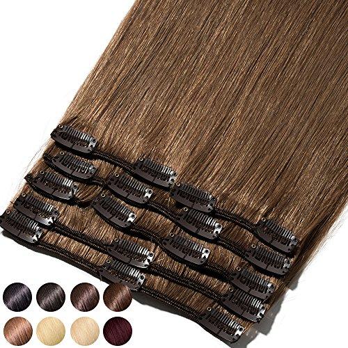 S-noilite® Extensiones de clip de pelo natural cabello humano #06 Marrón claro - 100% Remy hair – 8 piezas 18 clips (25cm-70g)