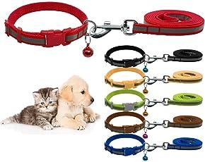 Nylon Reflective Safe Pets Collar Breakaway Safety Cat Dog Puppy Kitten Collars with Bells (Black)