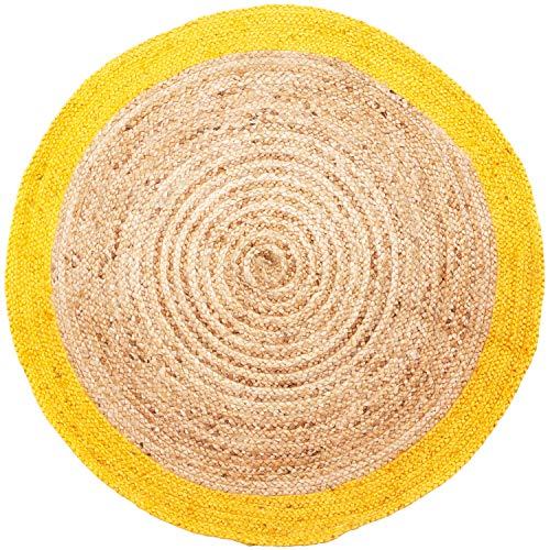 Handgewebter runder Jute Teppich 120 cm groß Luna Natur Gelb | Outdoor Teppiche Rund geflochten für Garten oder Balkon | Indoor im Wohnzimmer Kinderzimmer | Mediterrane Deko für Ihre Wohnung -