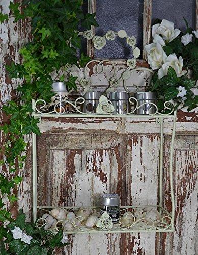 Wandregal Küchenregal Französischer Regal Eisenregal Wandkonsole Antik Vintage 56 x 38 x 14 cm